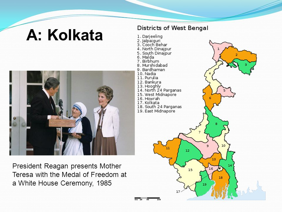 A: Kolkata President Reagan presents Mother Teresa with the Medal of Freedom at a White House Ceremony,