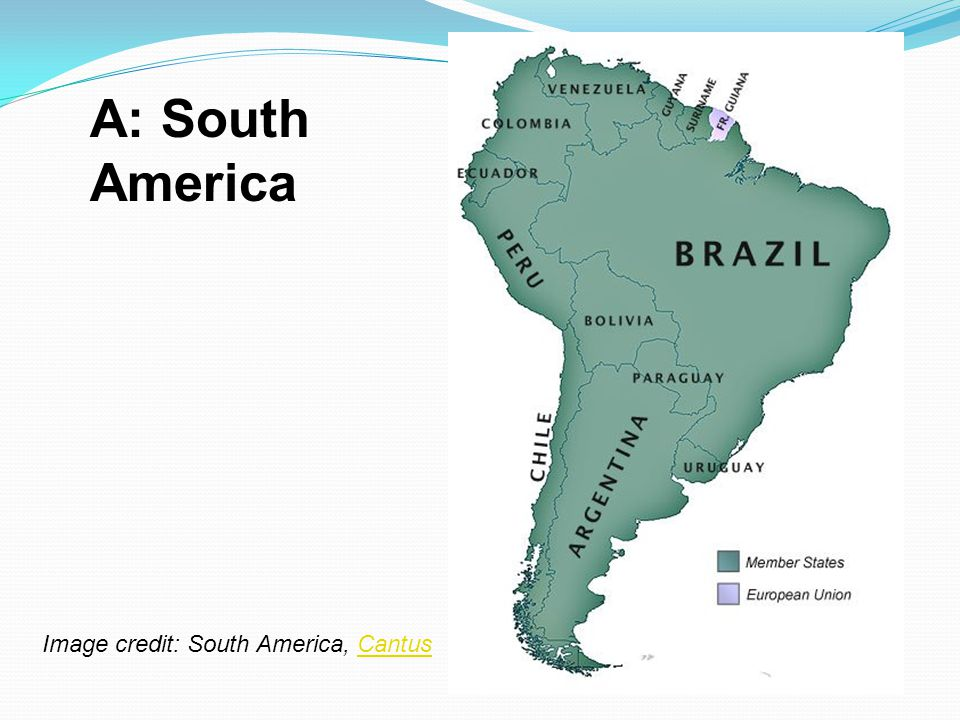 A: South America Image credit: South America, Cantus
