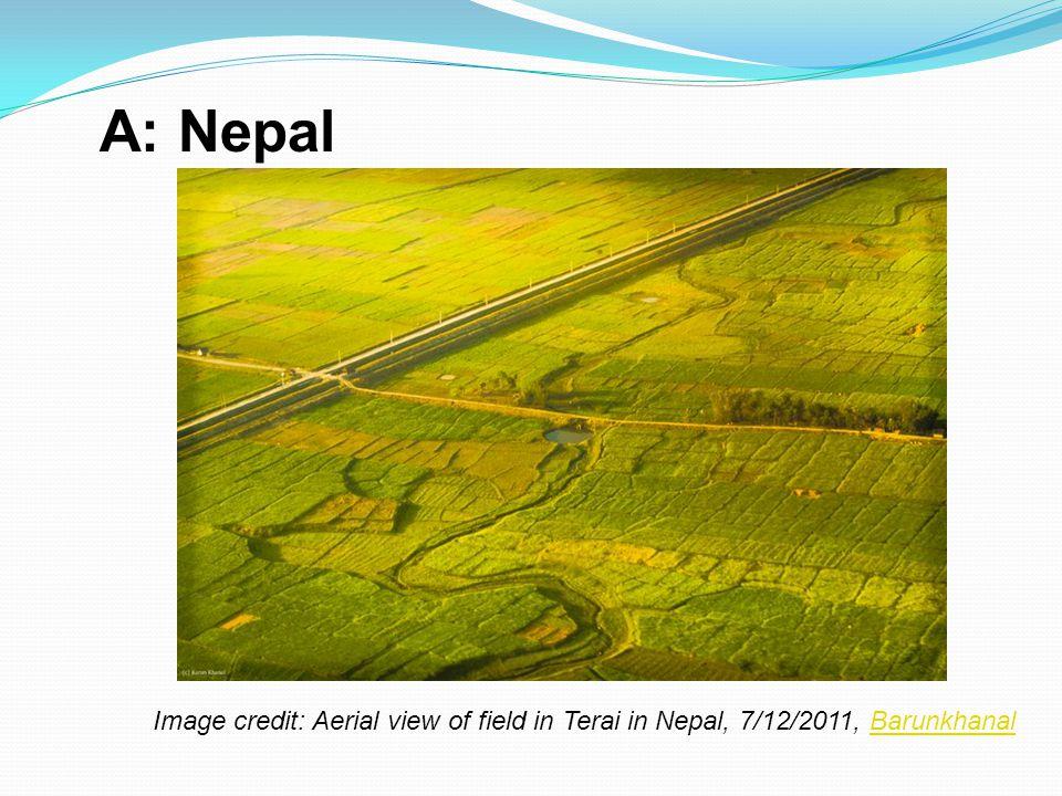 A: Nepal Image credit: Aerial view of field in Terai in Nepal, 7/12/2011, Barunkhanal