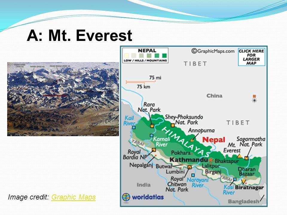 A: Mt. Everest Image credit: Graphic Maps