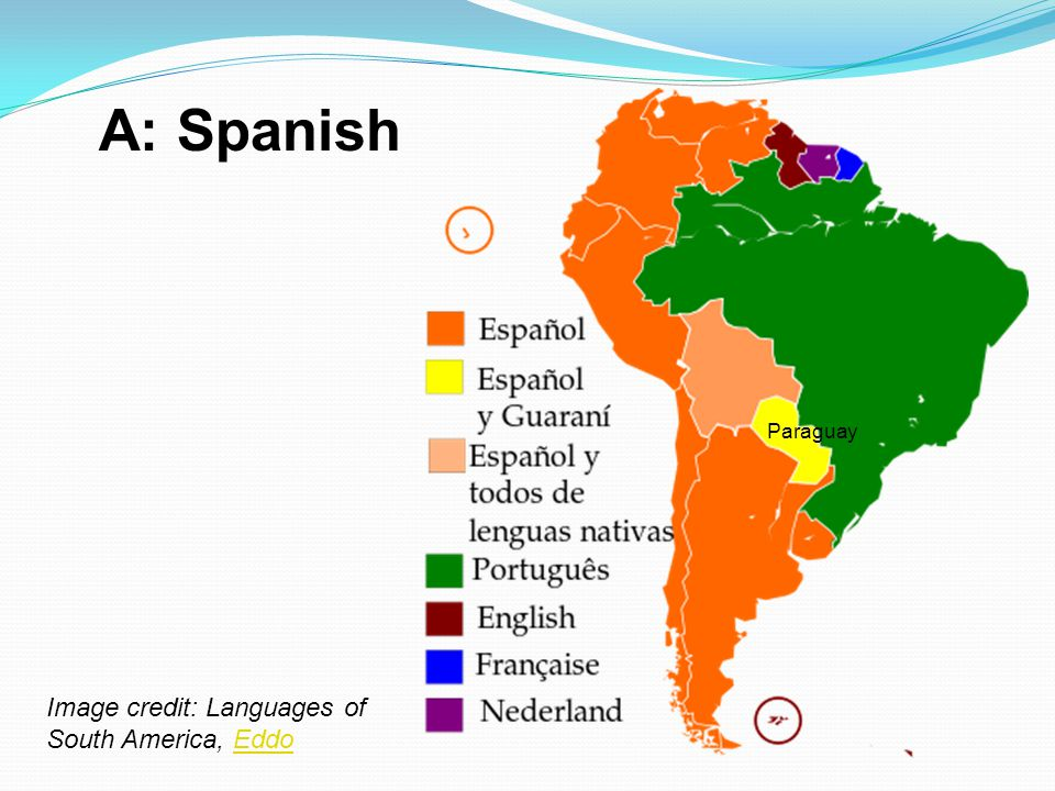 A: Spanish Paraguay Image credit: Languages of South America, Eddo