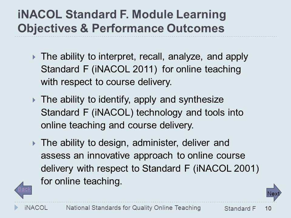 iNACOL Standard F. Module Learning Objectives & Performance Outcomes