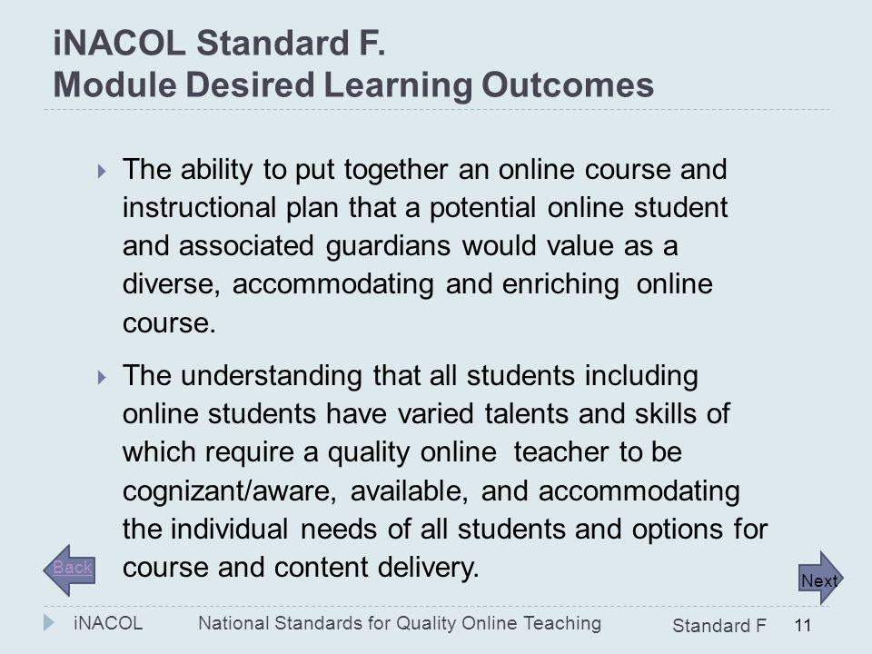 iNACOL Standard F. Module Desired Learning Outcomes