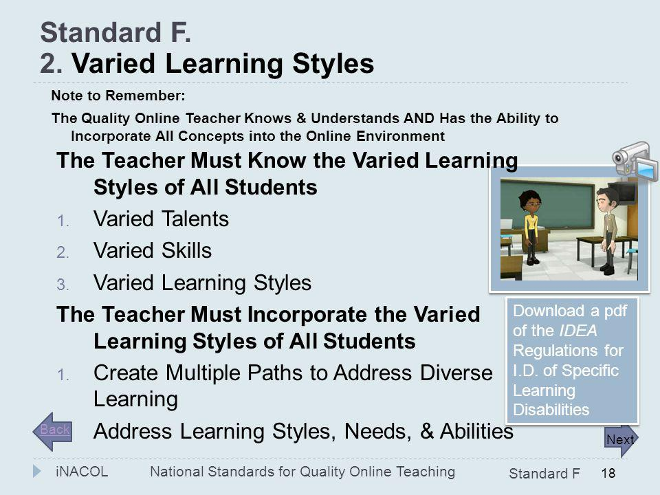 National Standards for Quality Online Teaching