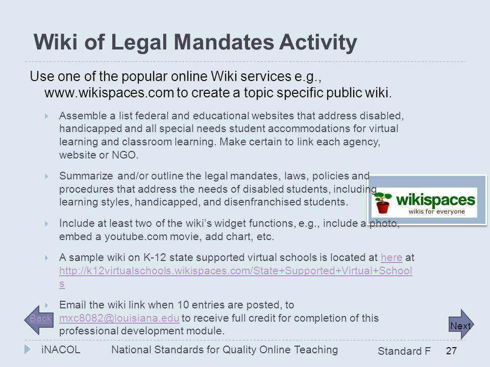Wiki of Legal Mandates Activity