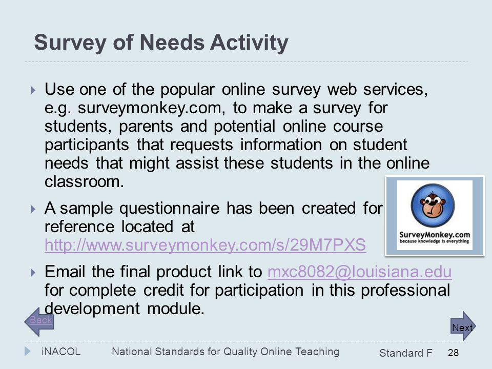 Survey of Needs Activity