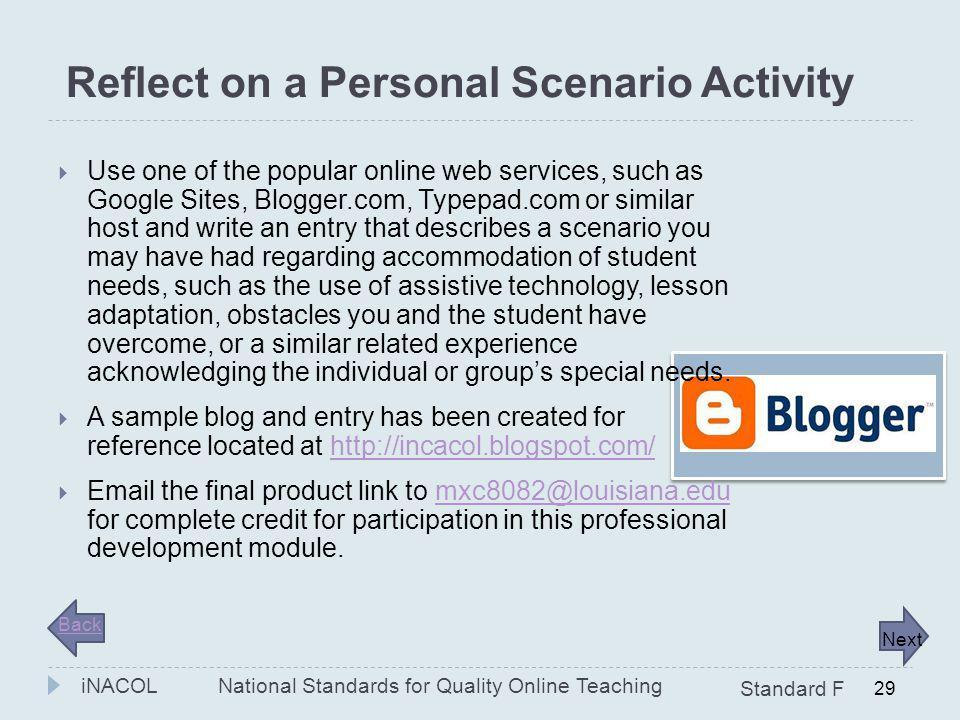 Reflect on a Personal Scenario Activity