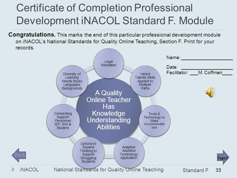 Certificate of Completion Professional Development iNACOL Standard F