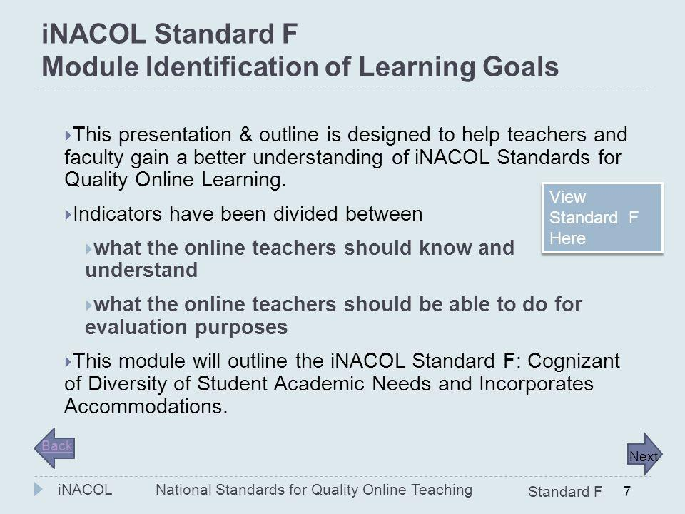 iNACOL Standard F Module Identification of Learning Goals