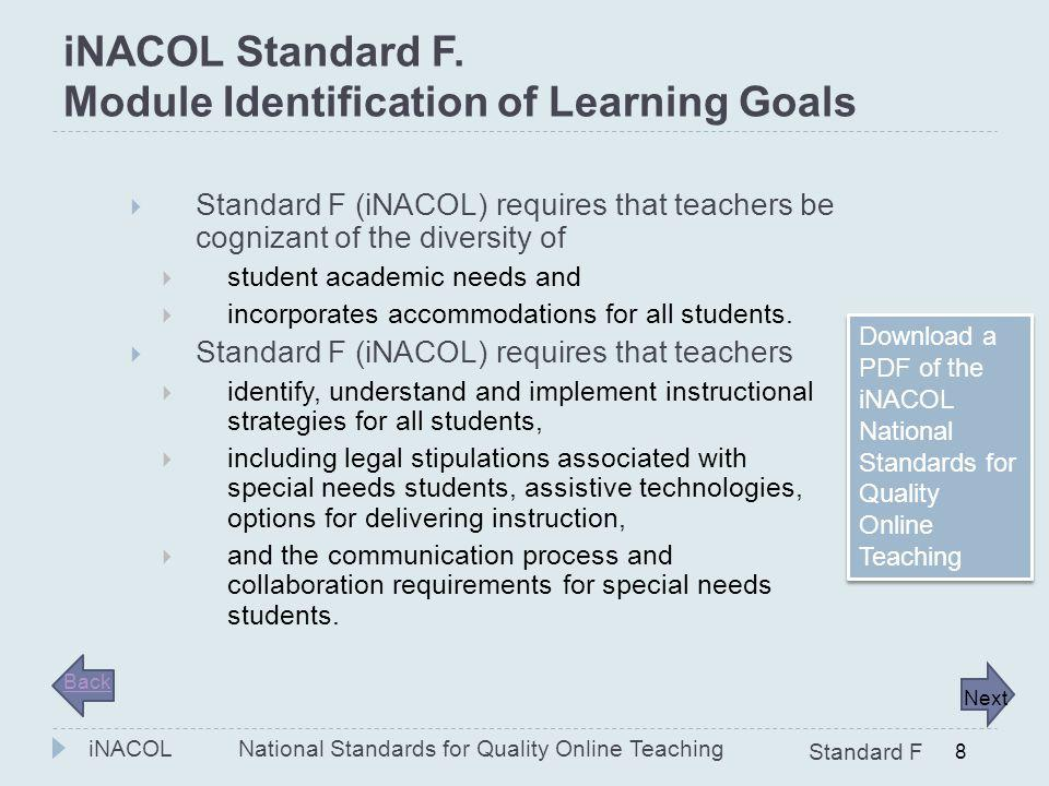 iNACOL Standard F. Module Identification of Learning Goals