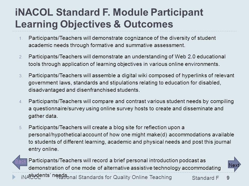 iNACOL Standard F. Module Participant Learning Objectives & Outcomes