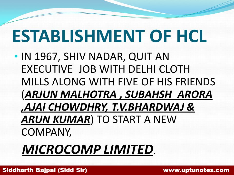 ESTABLISHMENT OF HCL