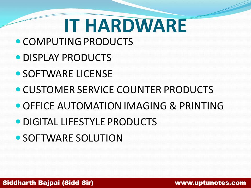IT HARDWARE COMPUTING PRODUCTS DISPLAY PRODUCTS SOFTWARE LICENSE