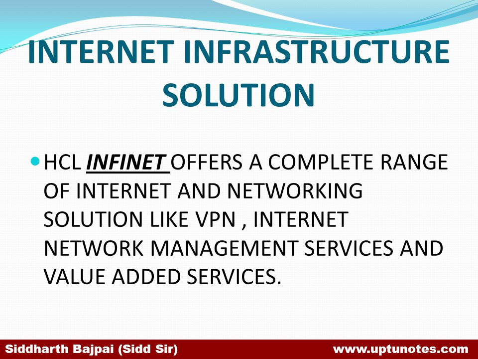 INTERNET INFRASTRUCTURE SOLUTION