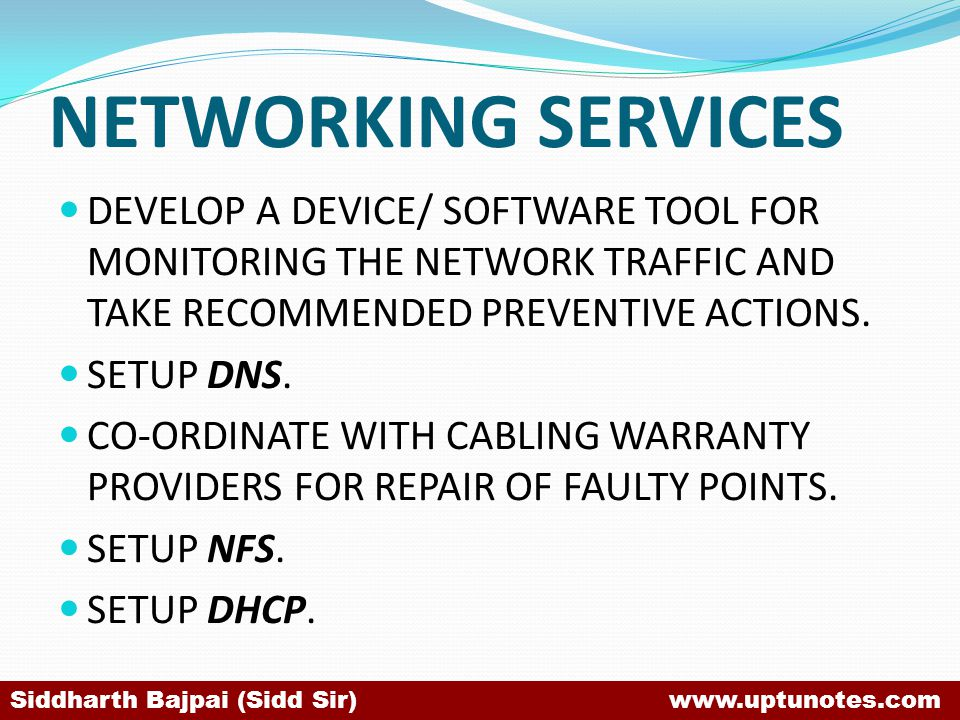 NETWORKING SERVICES DEVELOP A DEVICE/ SOFTWARE TOOL FOR MONITORING THE NETWORK TRAFFIC AND TAKE RECOMMENDED PREVENTIVE ACTIONS.