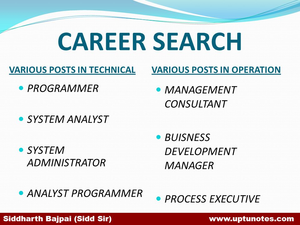 CAREER SEARCH PROGRAMMER SYSTEM ANALYST SYSTEM ADMINISTRATOR