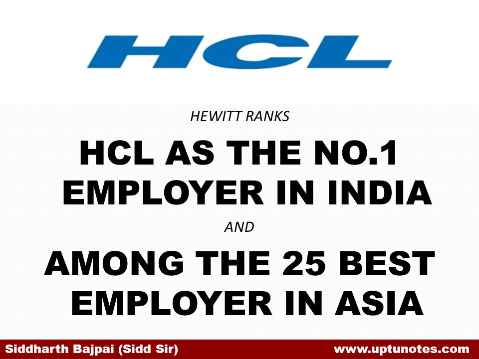 HCL AS THE NO.1 EMPLOYER IN INDIA AMONG THE 25 BEST EMPLOYER IN ASIA