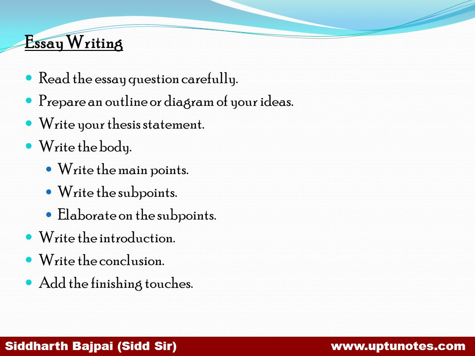 Essay Writing Read the essay question carefully.