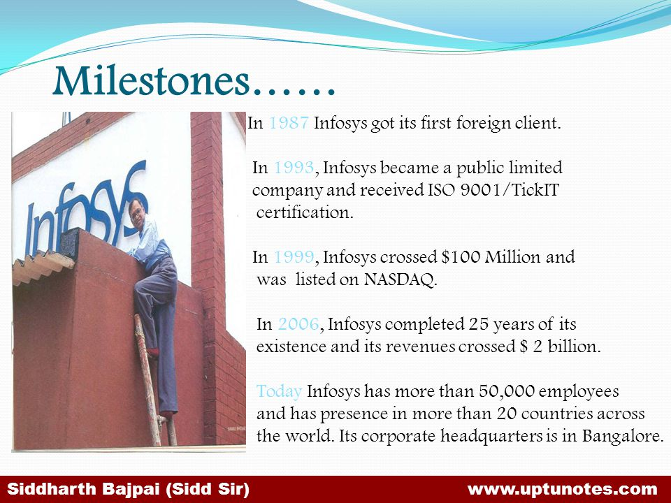 Milestones…… In 1987 Infosys got its first foreign client.