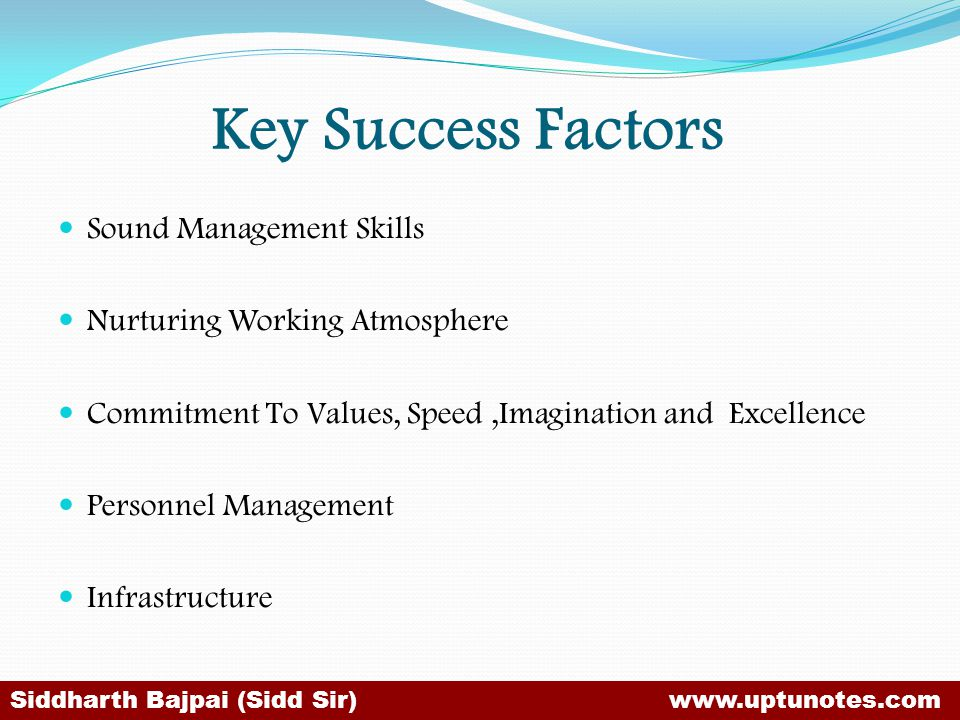 Key Success Factors Sound Management Skills