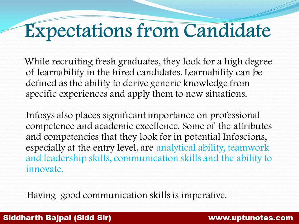 Expectations from Candidate