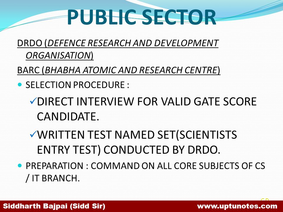 PUBLIC SECTOR DIRECT INTERVIEW FOR VALID GATE SCORE CANDIDATE.
