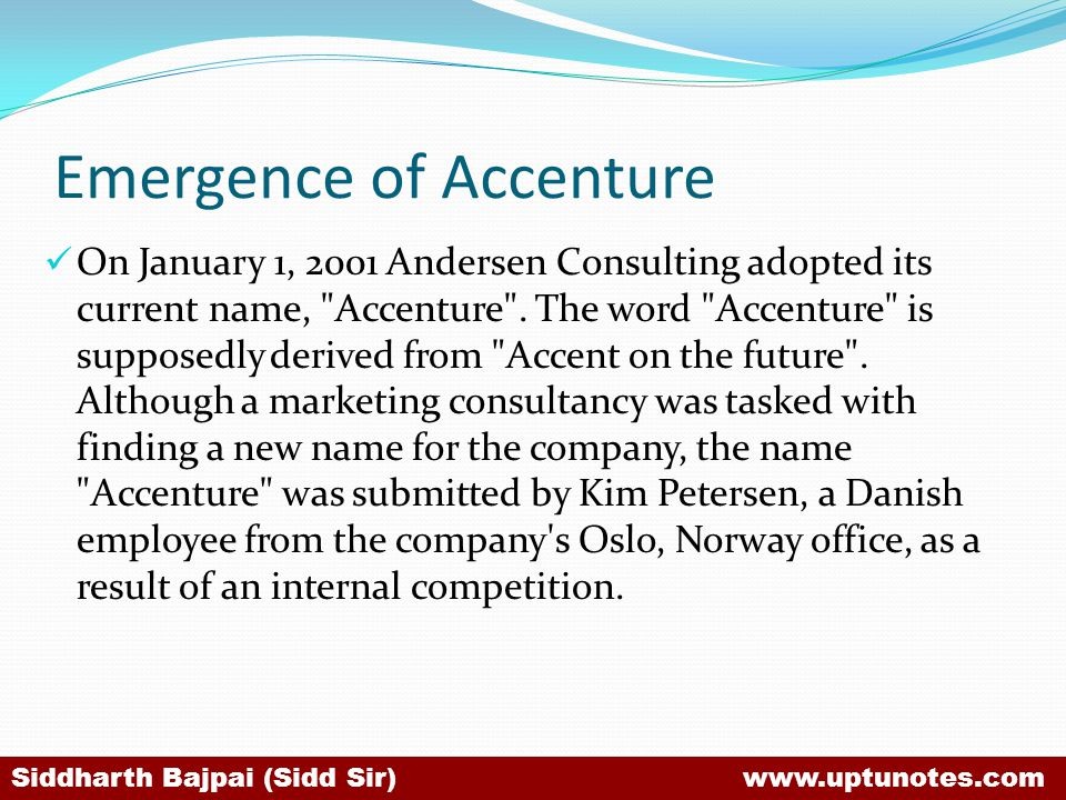 Emergence of Accenture