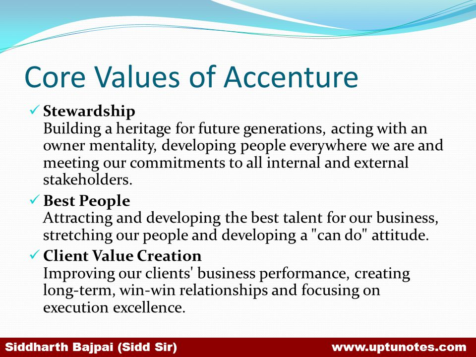 Core Values of Accenture