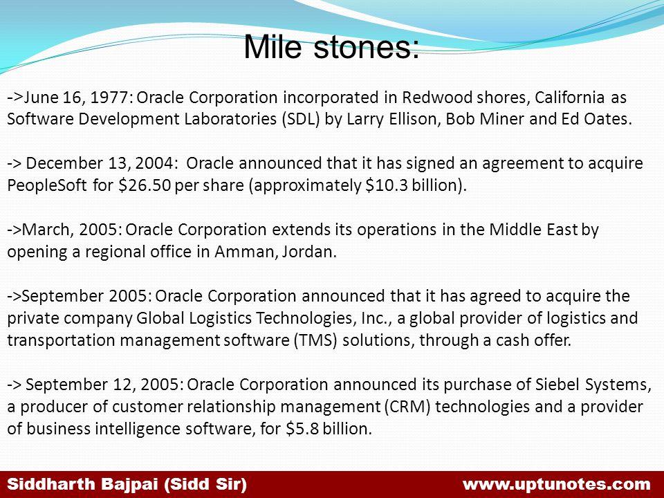 Mile stones: