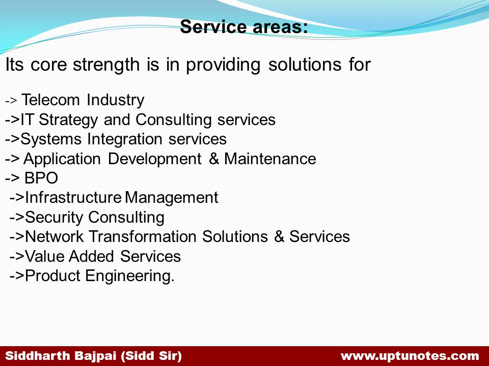 Its core strength is in providing solutions for