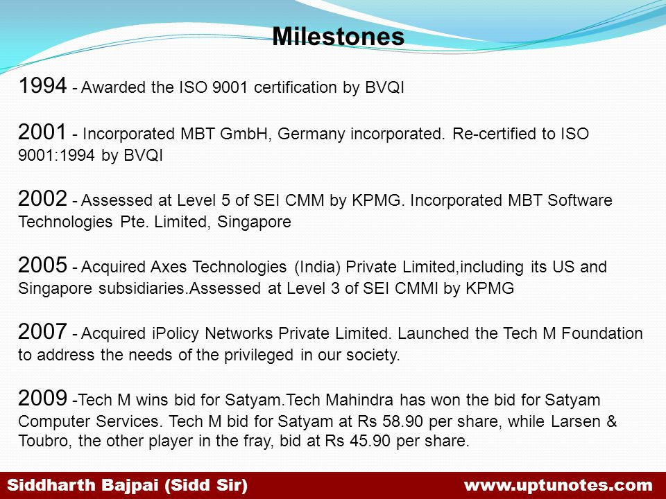 Milestones 1994 - Awarded the ISO 9001 certification by BVQI