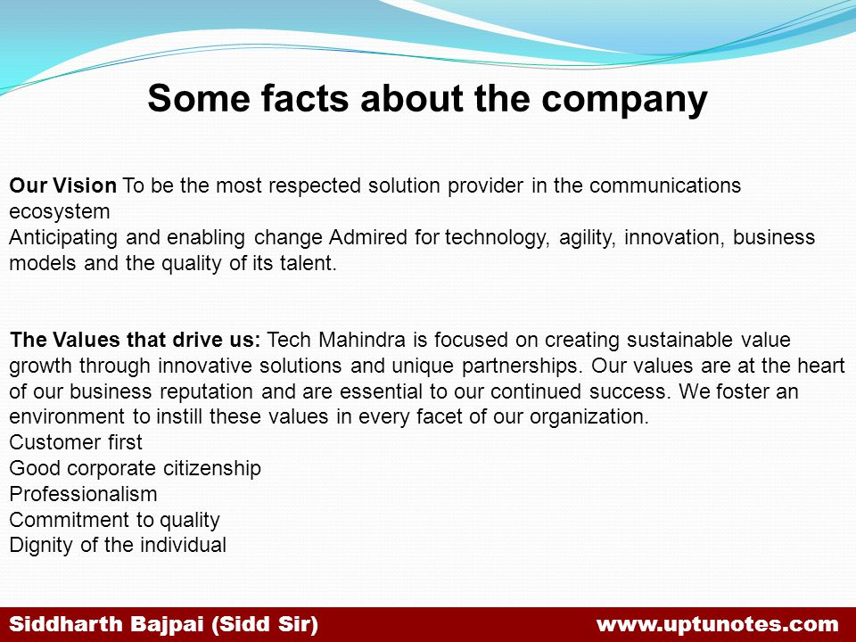 Some facts about the company