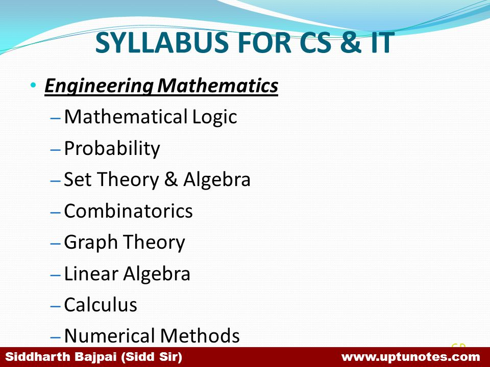 SYLLABUS FOR CS & IT Engineering Mathematics Mathematical Logic