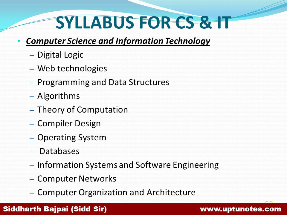 SYLLABUS FOR CS & IT Computer Science and Information Technology