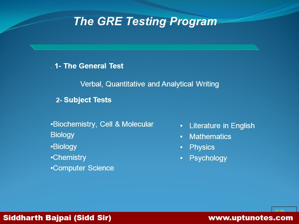 The GRE Testing Program
