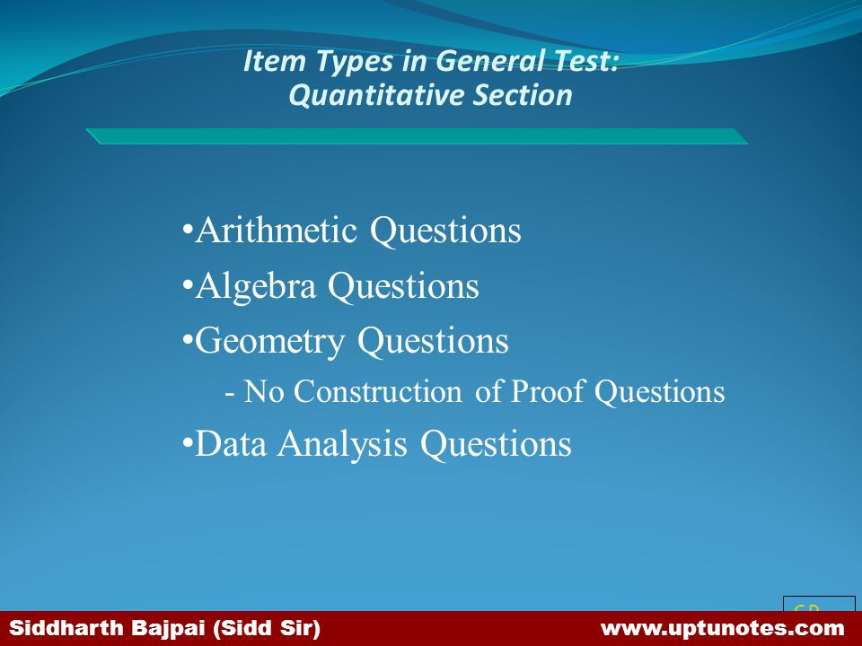 Item Types in General Test: Quantitative Section