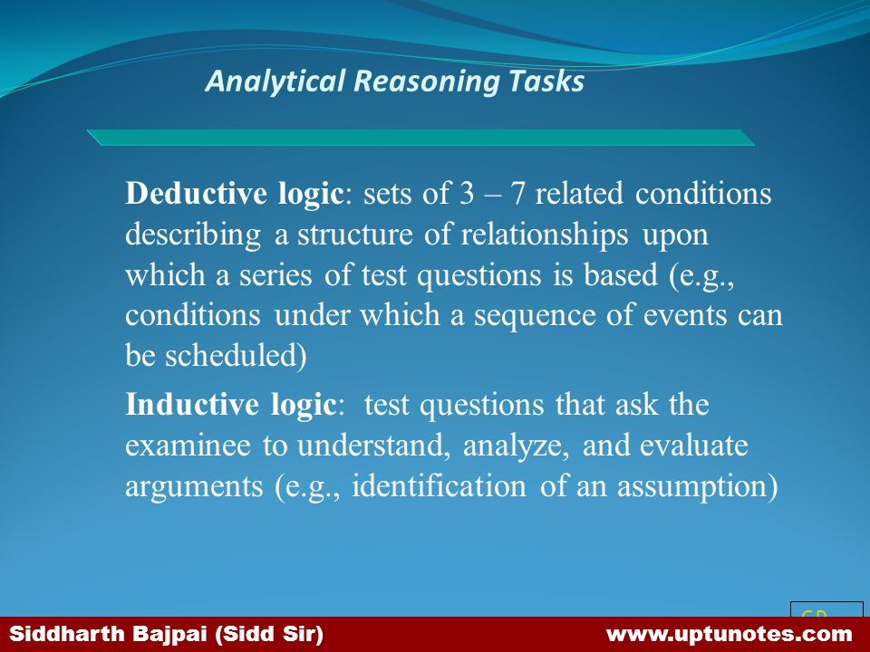 Analytical Reasoning Tasks