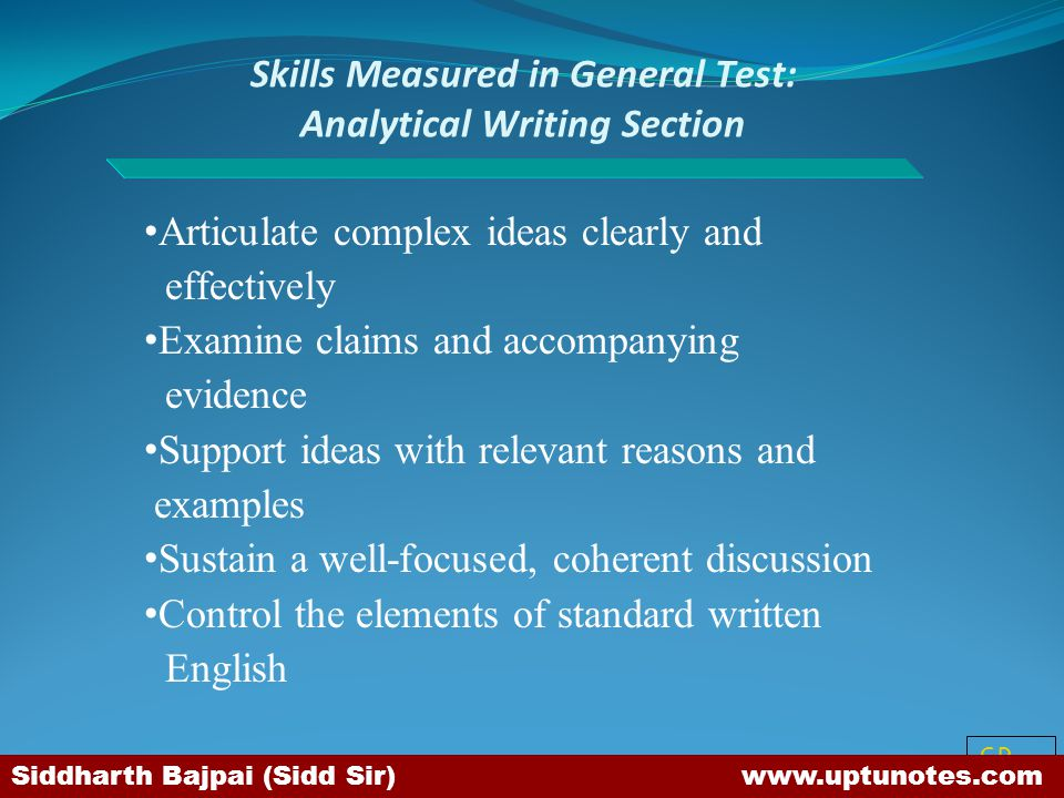 Skills Measured in General Test: Analytical Writing Section