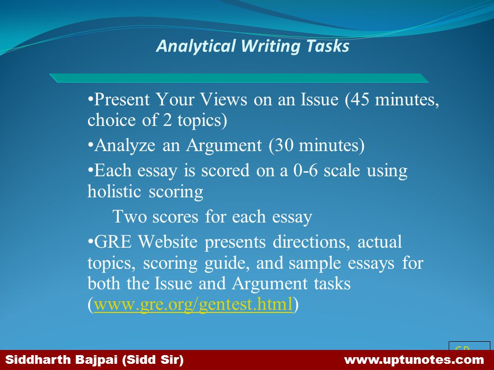 Analytical Writing Tasks