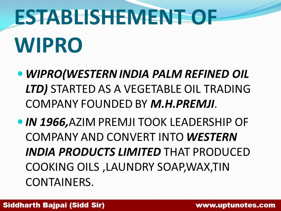 ESTABLISHEMENT OF WIPRO