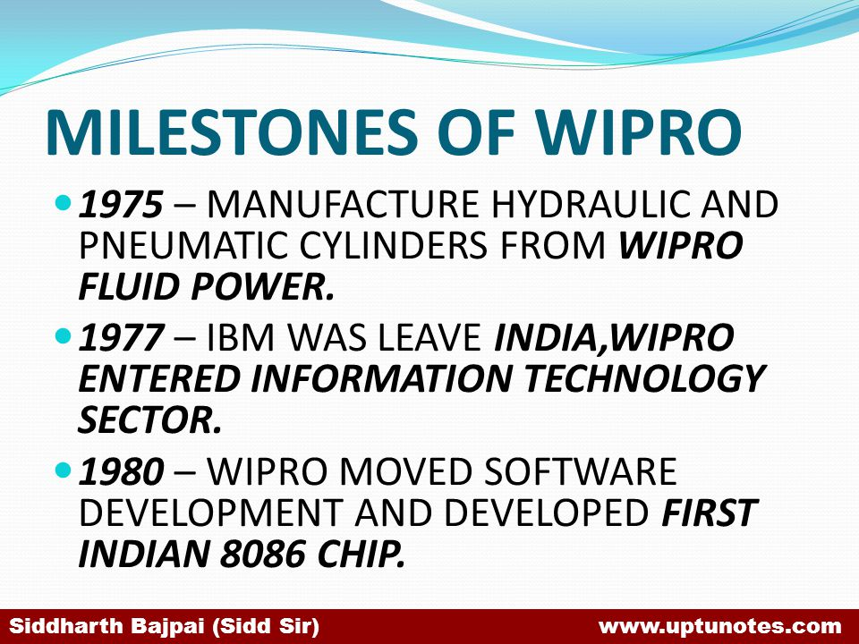MILESTONES OF WIPRO 1975 – MANUFACTURE HYDRAULIC AND PNEUMATIC CYLINDERS FROM WIPRO FLUID POWER.