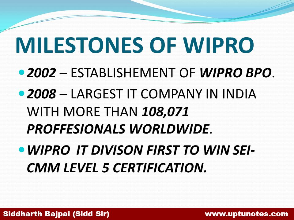 MILESTONES OF WIPRO 2002 – ESTABLISHEMENT OF WIPRO BPO.
