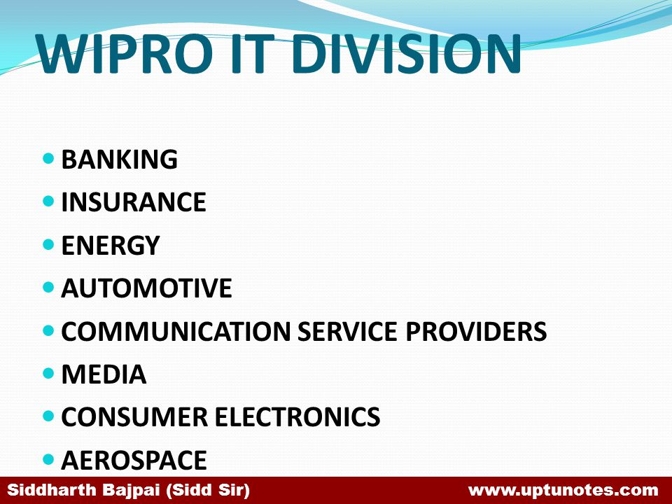 WIPRO IT DIVISION BANKING INSURANCE ENERGY AUTOMOTIVE