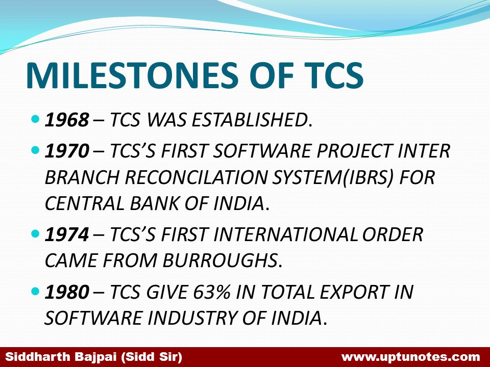 MILESTONES OF TCS 1968 – TCS WAS ESTABLISHED.