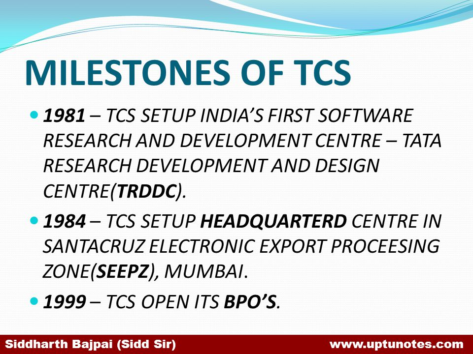 MILESTONES OF TCS 1981 – TCS SETUP INDIA'S FIRST SOFTWARE RESEARCH AND DEVELOPMENT CENTRE – TATA RESEARCH DEVELOPMENT AND DESIGN CENTRE(TRDDC).