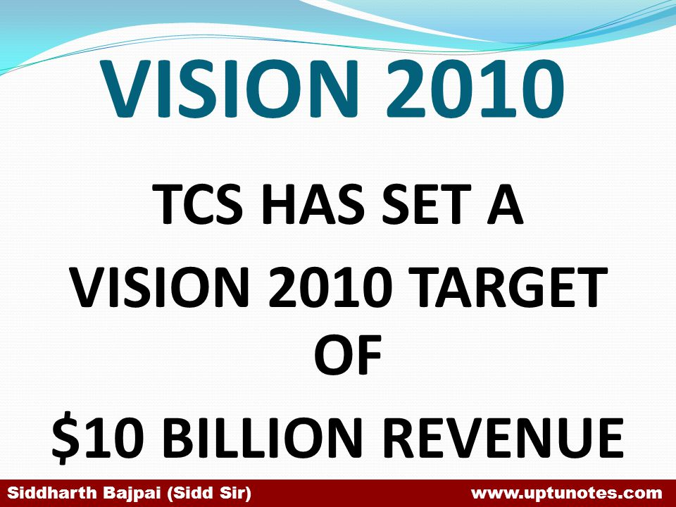 TCS HAS SET A VISION 2010 TARGET OF $10 BILLION REVENUE