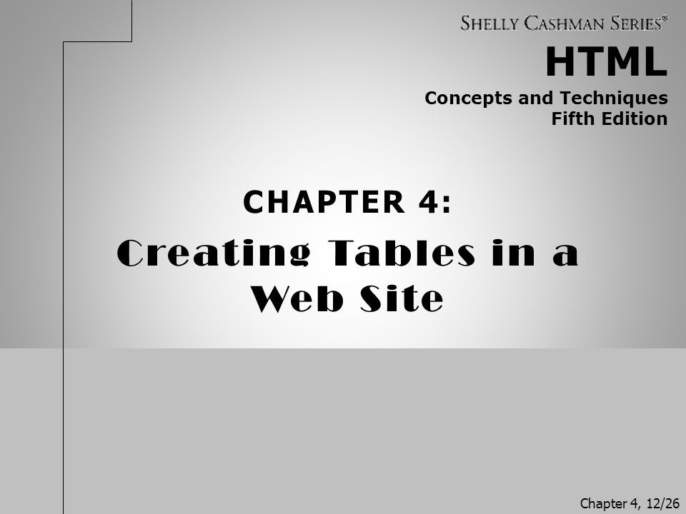 Creating Tables in a Web Site