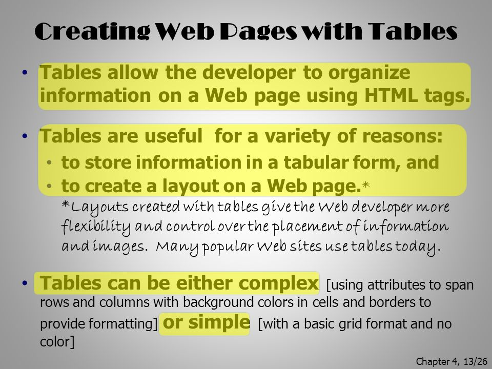 Creating Web Pages with Tables
