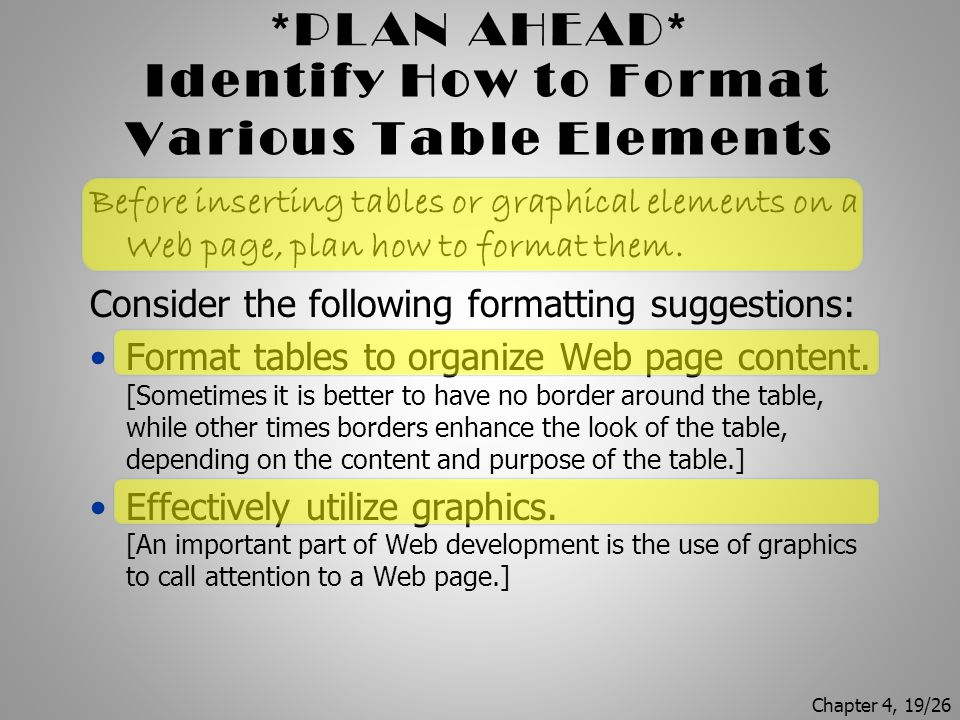 Identify How to Format Various Table Elements
