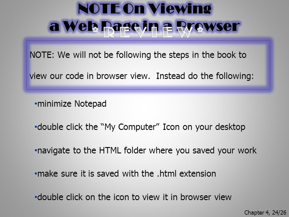 NOTE On Viewing a Web Page in a Browser